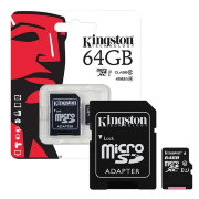 Карта памяти Kingston MicroSD 64Gb Class 10 UHS-I (80 Mb/s) с SD адаптером