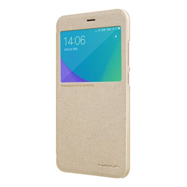 Чехол книжка NILLKIN Sparkle leather case для Xiaomi Redmi Note 5A (Gold)